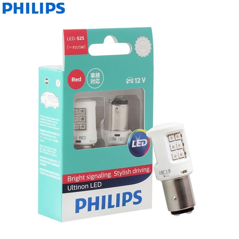 Светодиодные лампы Philips Ultinon светодиодный 25 P21/5W BAY15d 12 В 11499ULRX2, поворотники красного цвета, лампы стоп-сигнал и фотолампы головного света (дво...