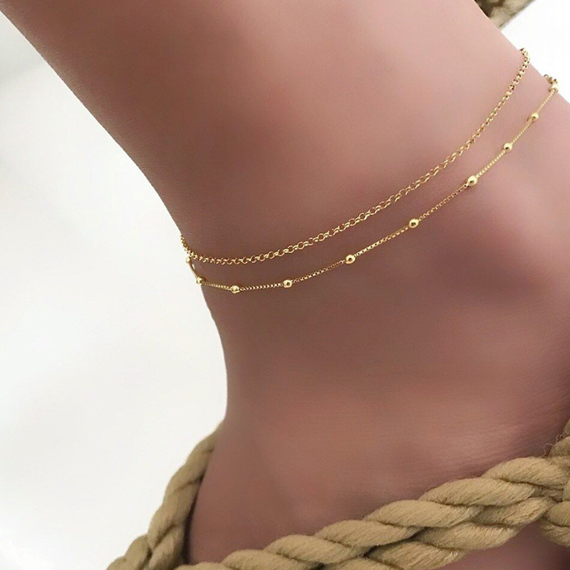 Trendy Beads Multilayer Summer Anklet For Woman Bohemian Vintage Footwear Leg Bracelets 2020 Female Foot Jewelry New