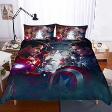 Мстители Железный человек 3D печать постельных принадлежностей набор пододеяльников Набор наволочек одеяло Постельный набор Капитан Америка постельное белье