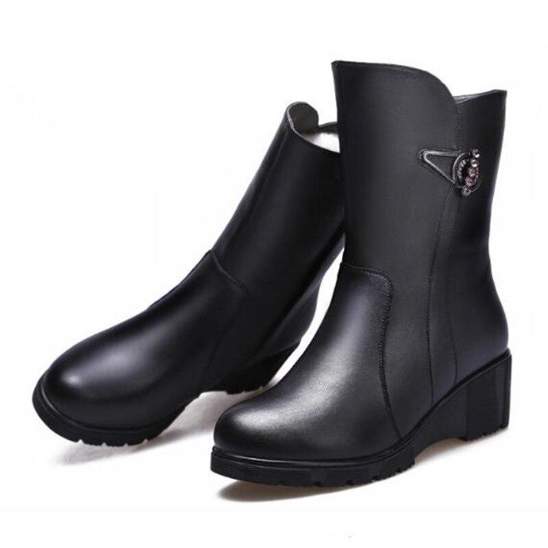 Cuero Zapatos Vaca 2018 Caliente Algodón Negro Botas Mujer Antideslizantes De Moda Invierno Elegante Cómodo Nuevas qS87qa