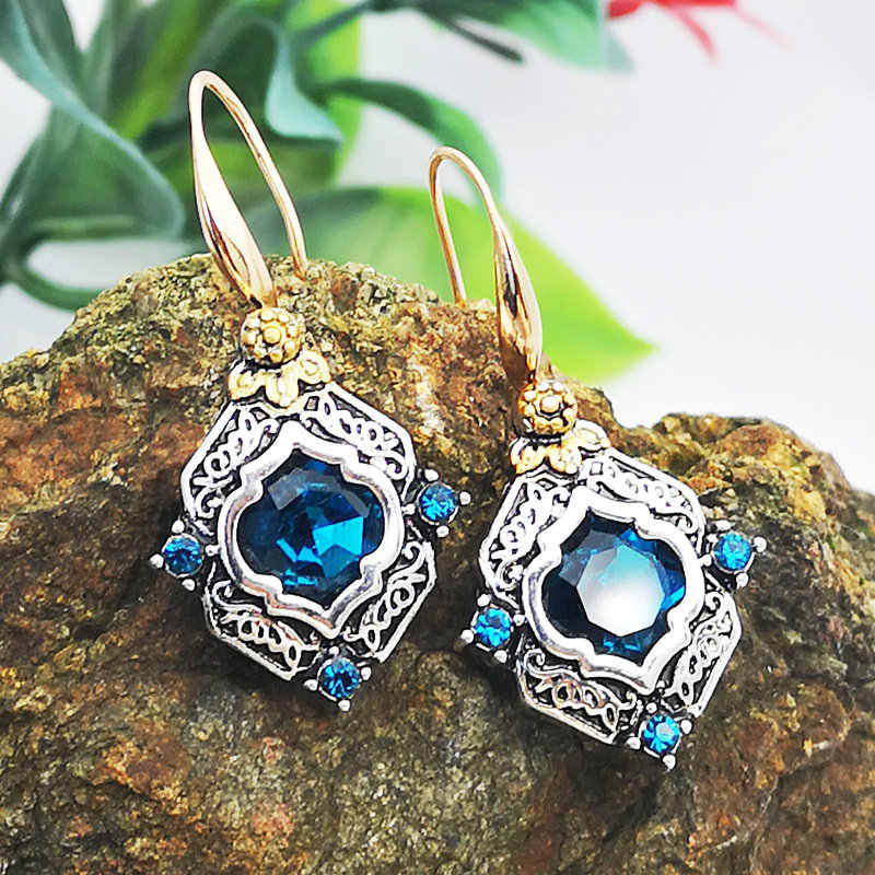 2019 New Vintage Blue Crystal Zircon Elegant Dangle Earrings for Women Jewelry Wedding Drop Earings Engagement Statement Brincos