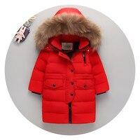 AILEEKISS Winter Girls Long Big Raccoon Fur Down Clothing Warm Children Down Jackets For Kids Boys Hooded Outerwear 1 15 Years