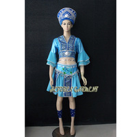 High Quality Women Or Kids Customized made Russian Folk Dance Costume Dress With Headwear Head,Russia National Blue Dance Skirt