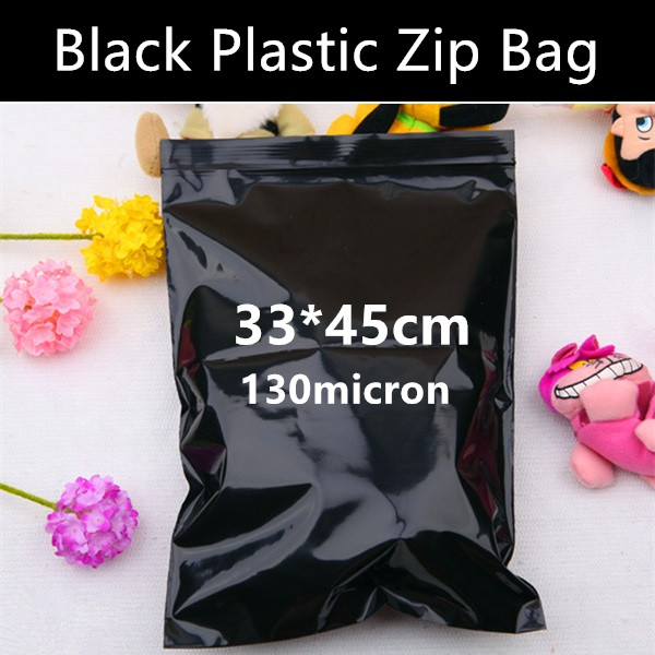 Wholesale 50pcs 33cm 45cm 130micron Large Black Laminated Zip Bag Plastic Packaging Zipper Bag Gift Mailing