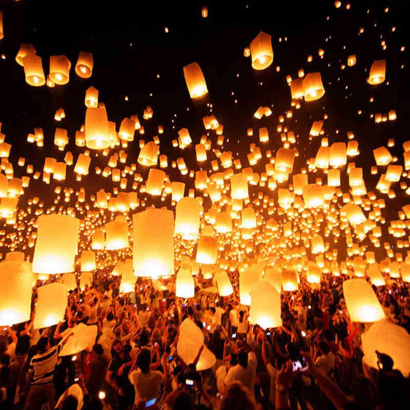 romantic sky lanterns paper flying balloons with fuel for wedding party birthday casamento decoration 10pcs