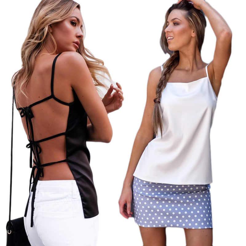 セクシーな女性の女性の夏シャツノースリーブスリム包帯バックアウト中空 Tシャツ 2018 新白黒トップス tシャツ