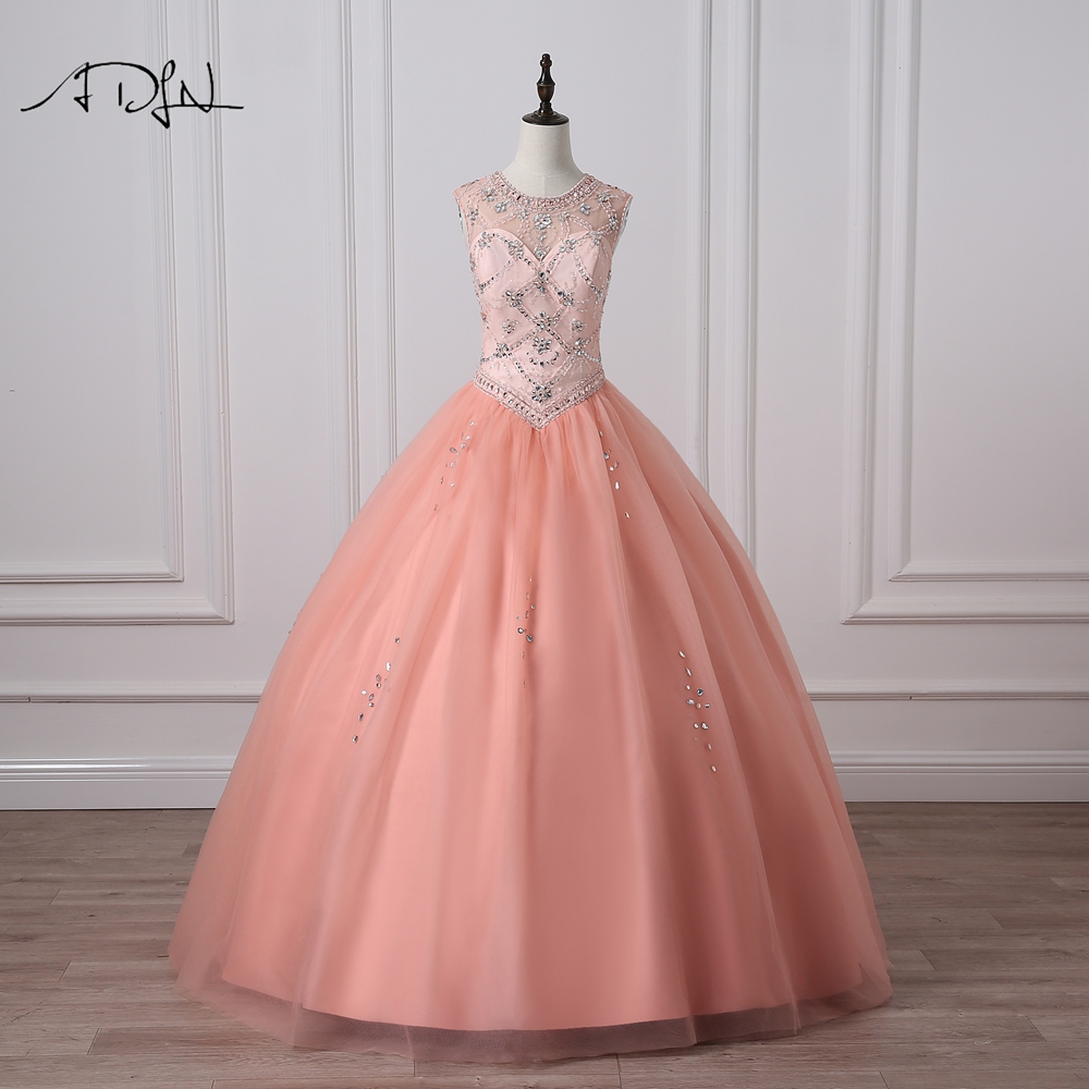 ADLN Scoop Sleeveless Coral Quinceanera Dresses with Crystals Heavily Beaded Custom Made Ball Gown Debutante Gown Sweet 15 Dress