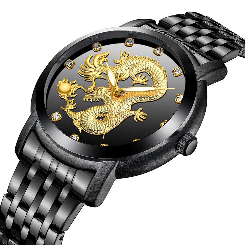 engraved dragon mens luxury watch stainless steel quartz wrist watch