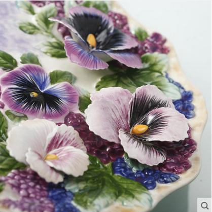 Assiettes décoratives série fleurs | Vaisselle murale décorative en porcelaine, décor de maison vintage artisanat décoration de salle, figurine de décoration - 2