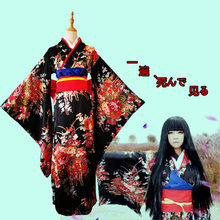 2556967d186 Newest Anime Jigoku Shoujo Mioyosuka Cosplay Kimono Black Floral Japanese  Kimono Dresses For Women Plus Size S-3XL
