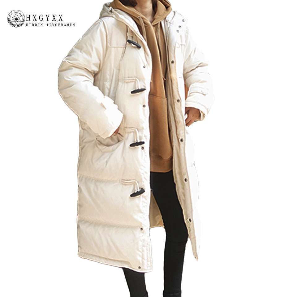 Winter Jacket Woman 2017 New Warm Quilted Coat Long Solid Horn Button Hooded Military Parka Loose Down Cotton Outwear Okb144 hot style three points children quilted loose coat