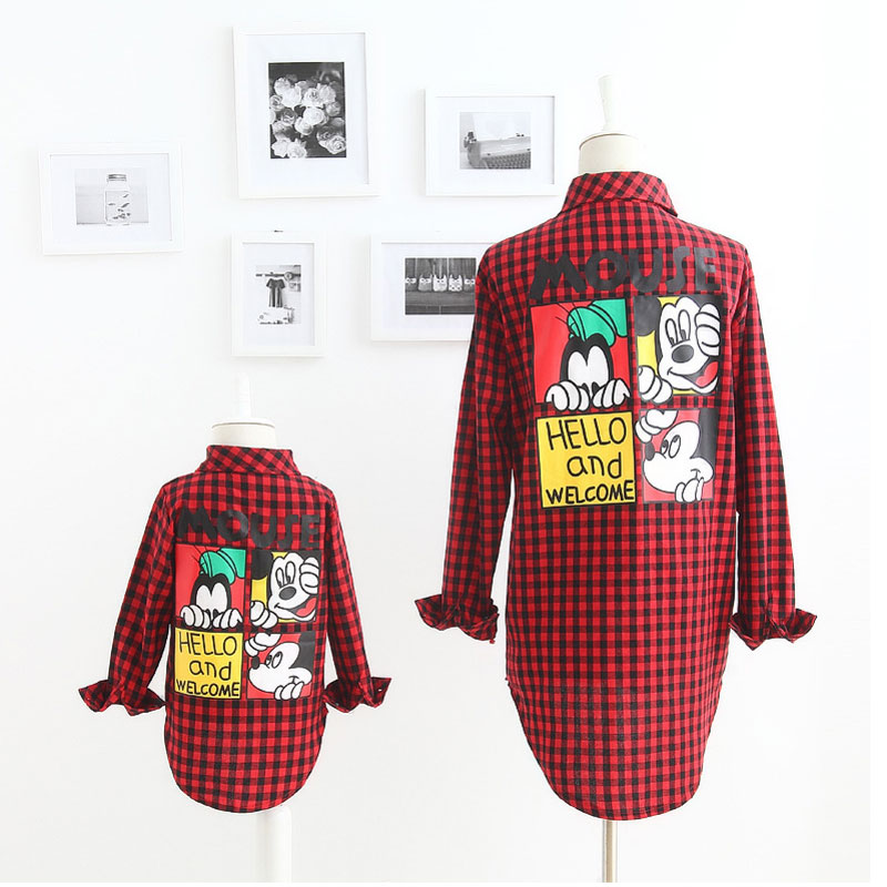 Autumn New Fashion Family Look Girl And Mother Mickey Cartoon Plaid Shirt Family Matching Outfits Cotton Matching Family Shirts