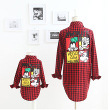 Autumn New Fashion Family Look Girl And Mother Mickey Cartoon Plaid Shirt Family Matching Outfits Cotton