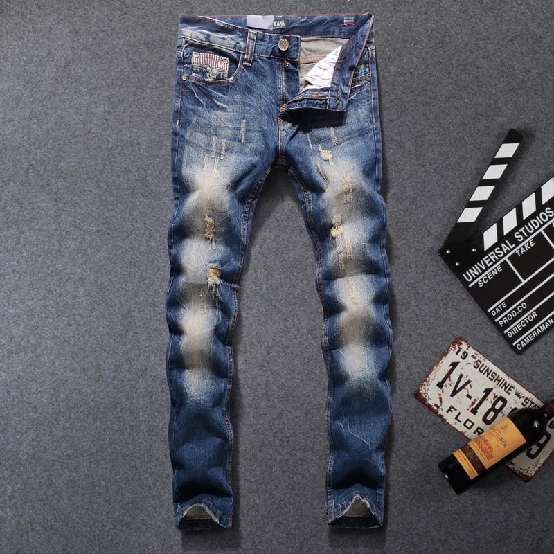 Fashion Classical Men   Jeans   Slim Fit 100% Cotton Destroyed Ripped   Jeans   For Men Streetwear Hip Hop Pants hombre DSEL   Jeans   homme