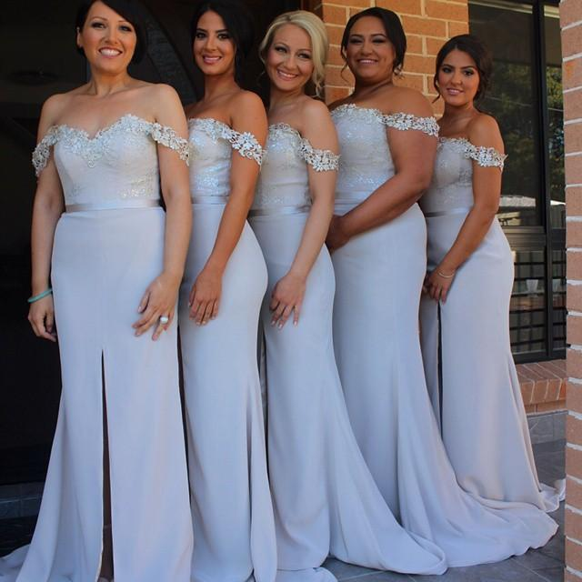 1211fa9a4ecb2 2015 Mermaid Lace Bridesmaid Dresses Sweetheart Chiffon Chapel Train Off  Shoulder Bridesmaid Gowns Sliver Wedding Party Dresses