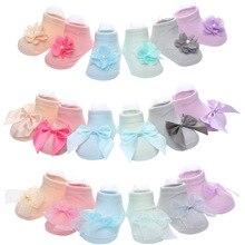 3 pair /Bag Candy Princess Cute Baby Socks Lace Mesh Solid Color Cotton Non-Slip Children Floor Socks цена