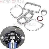 6pcs Chrome Motorcycle Inner Fairing Speedometer Radio Speaker Trim Cover Kit For Harley Road Glide FLTRX FLTRU FLTRXS 2015 Up
