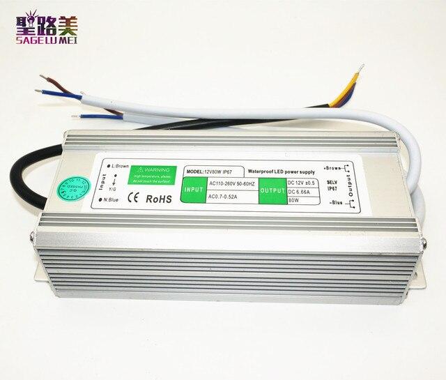 AC110V-220V à DC12V alimentation 10W 20W 30W 50W 80W 100W IP67 étanche 24V LED transformateur électronique en alliage daluminium pilote