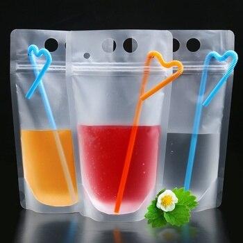 50 piezas 500 ml de bebida de jugo de bolsa con pajitas Vertical cremallera transparente bolsa con cierre de cremallera para el hogar bebidas dulces frijoles tuerca
