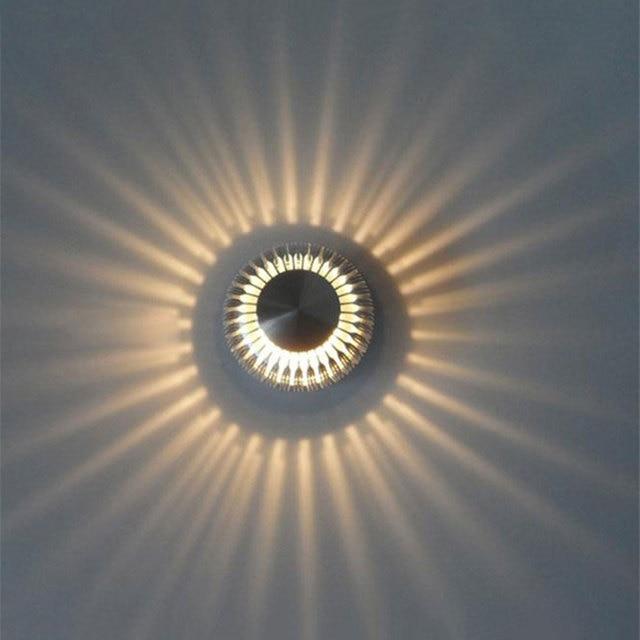AC100 240V 3 Watt Aluminium Kreis Wandleuchte Lampe Wandleuchte Modern Art Deco  Korridor Treppe Wandhalterung