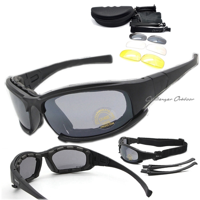 3af5084677974 Polarizada óculos de Sol Do Exército, Militar Goggles 4 Lente Kit, Jogo de  Guerra