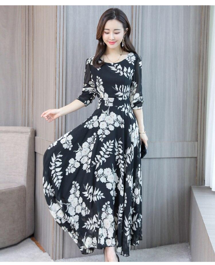 2019 printemps été Boho nouvelle grande taille robe en mousseline de soie o-cou Vintage imprimé grande taille 4xl manches longues Maxi longue robe Sexy femmes