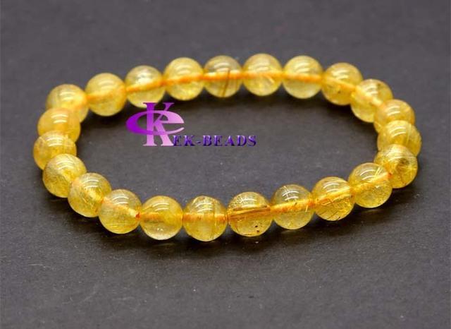 Atacado natural genuine amarelo titanium agulha de ouro rutilo quartz acabamento frisado trecho pulseira jóias rodada contas de 8mm 03147