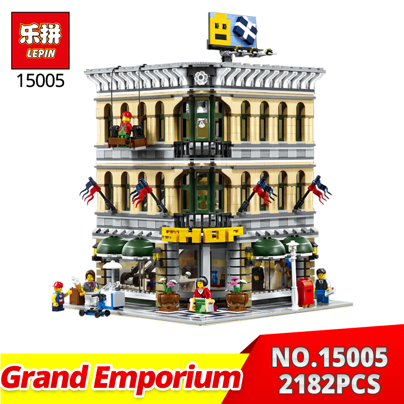 Lepin building bricks city street series 15005 2182Pcs Grand Emporium Model Building Blocks Toys gifts Compatible 10211 in stock 1711 city swat series military fighter policeman building bricks compatible lepin city toys for children