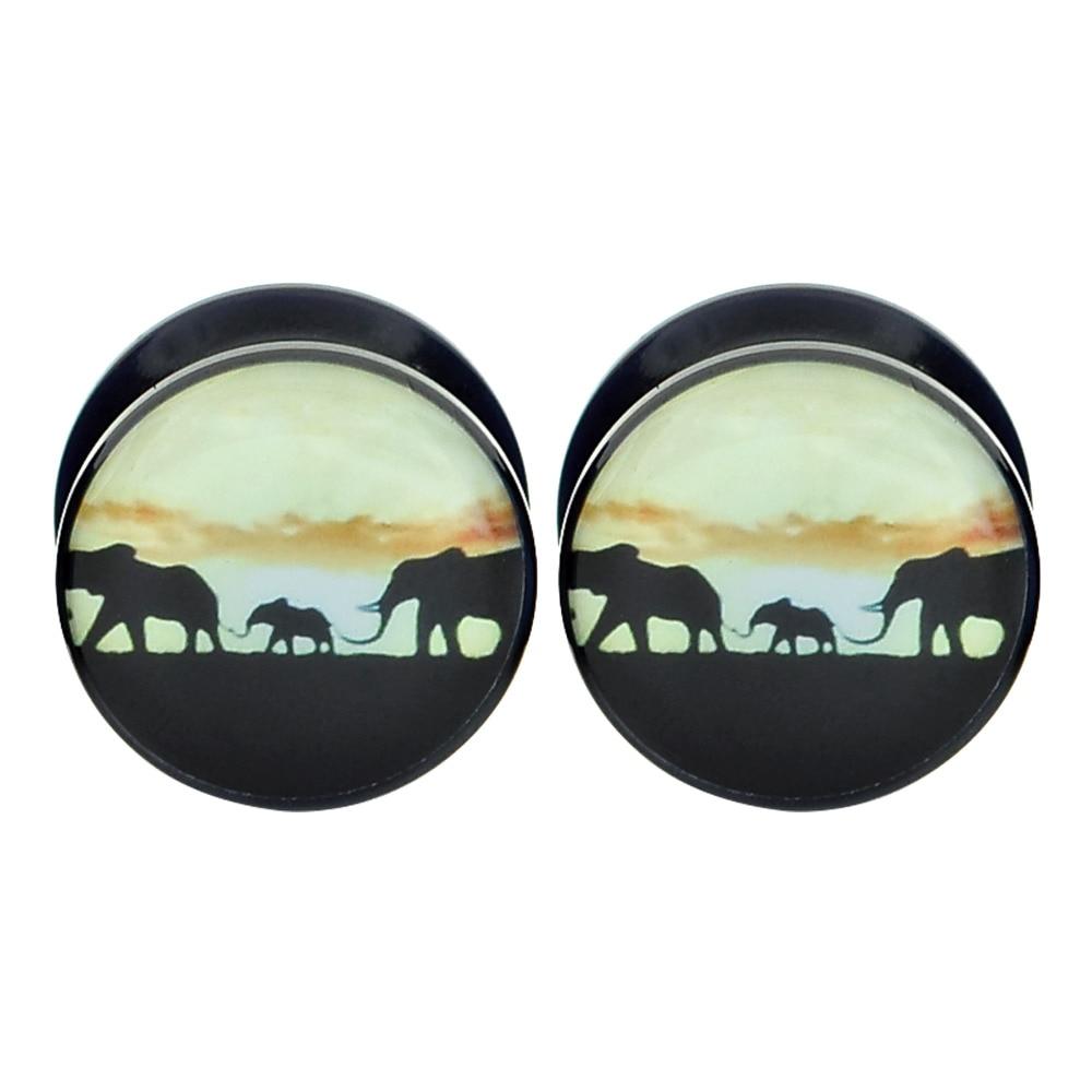 """1/"""" Acrylic SCREW PAIR ELEPHANT FAMILY Ear Gauges Ear Plugs Flesh Tunnel 2g"""