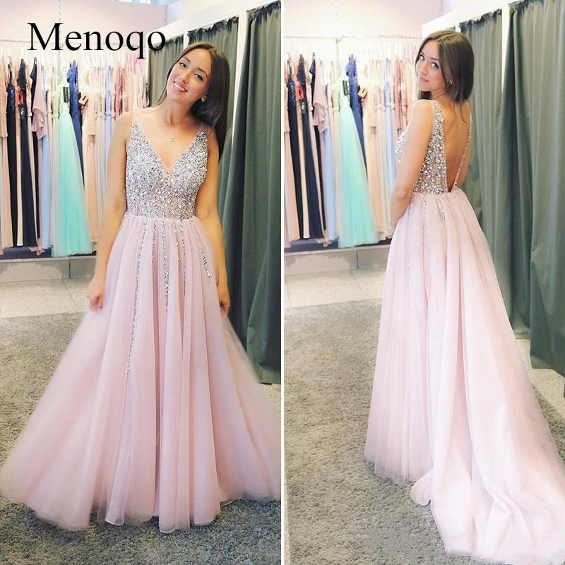 Pure Handmade Beaded Sequins V Neck Evening Dresses Long A Line Tulle Evening Gowns Sexy Backless Party Formal Dress