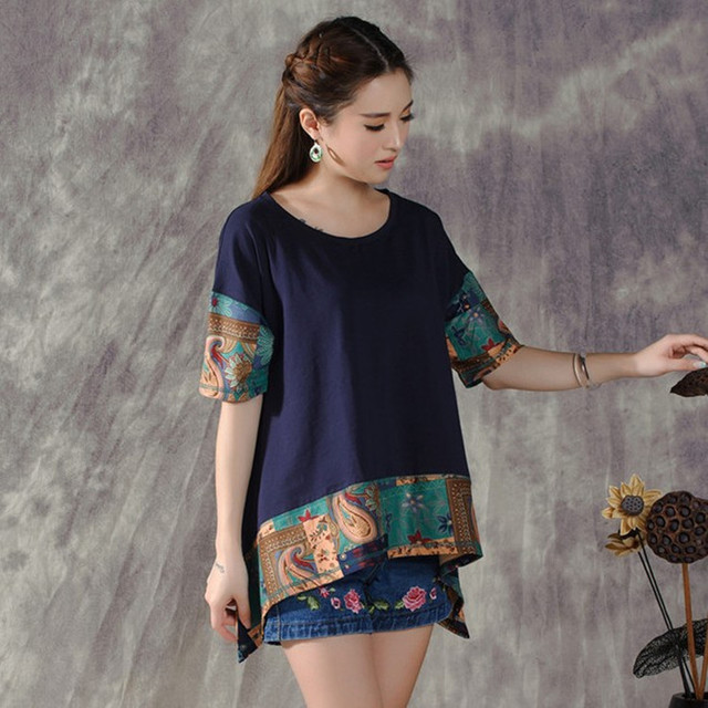 2017 Plus Size Loose Dark Blue White Asymmetrical t-shirt For Women Mexican Style Ethnic Print Patchwork T Shirt Top Blusa