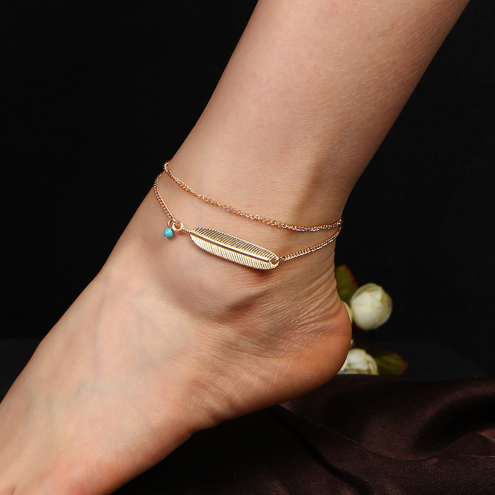 Double Chain Leaf Anklets Gold Silver Color Feather Ankle Bracelets For  Women Blue Beads Charm Barefoot