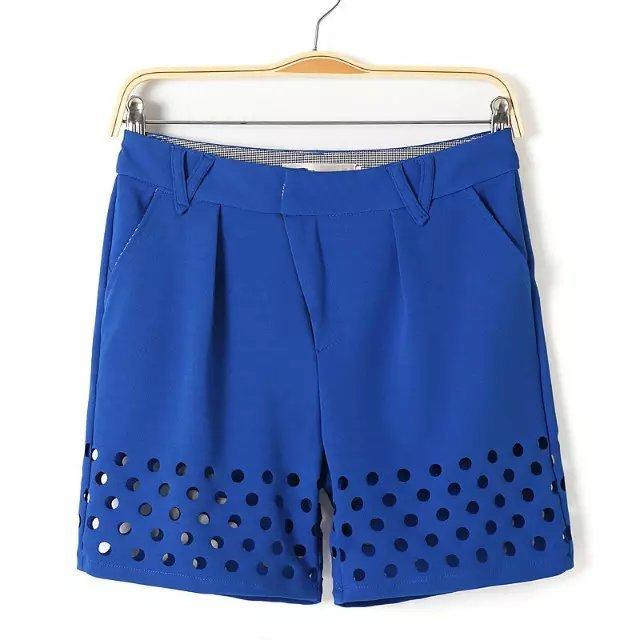 2016 nueva Casual de algodón de punto Color sólido ahueca hacia fuera Shorts del verano del todo fósforo cortocircuitos delgados dos bolsillos mujeres Shorts CP57