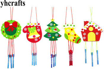 aeolian c3530 c3542 c3548 5PC/LOT.5 design choose DIY unfinished wind chime craft kits Xmas aeolian bells Kindergarten Pocket crafts Early learning toys