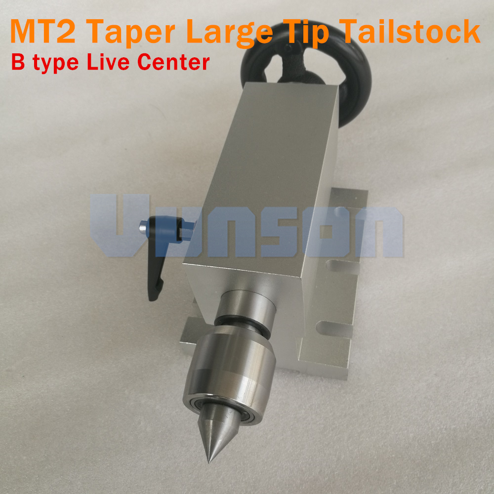 Morse2# MT2 Removable&Replaceable Large Tip Live Center Tailstock Center Height 65mm With Locked Wrench For Cnc 3040 Router DIY