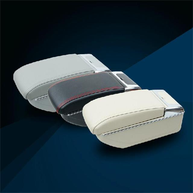 1 pcs New ABS e Couro estilo Do Carro Caixa de Armazenamento de apoio de Braços Central Tampa Modificação Adesivos Para Volkswagen POLO Acessórios Parte