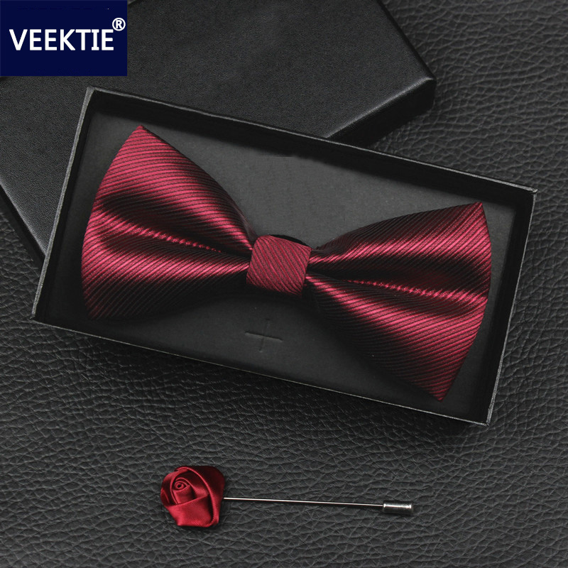 VEEKTIE 2018 New Design Bow Ties For Men Wedding Party Business Bowtie Butterfly Black Red Blue Cravate Formal Tuxedo Bowtie