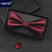 цена на VEEKTIE 2018 New Design Bow ties for men Wedding Party Business Bowtie Butterfly Black Red Blue Cravate Formal Tuxedo Bowtie