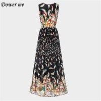 Hot Bohemian Style Printing Mid Calf Dress Female O Neck Full Sleeveless Big Swing Dresses Fashion