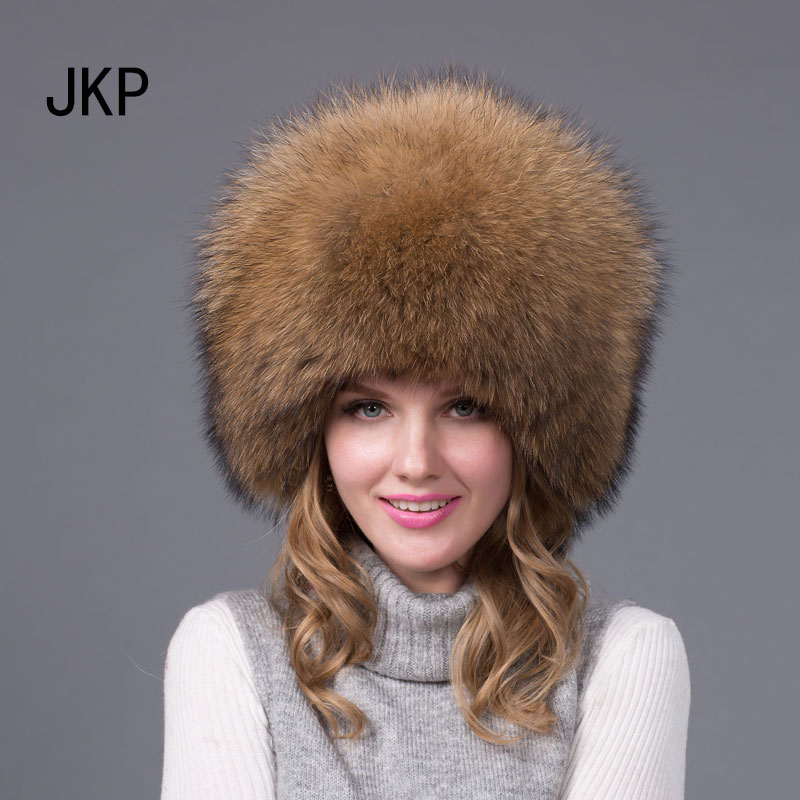JKP 2018 New Genuine Women winter warm real fox fur hat russian fur aviator skihats fashion adult Bomber Hats HJL-01(China)