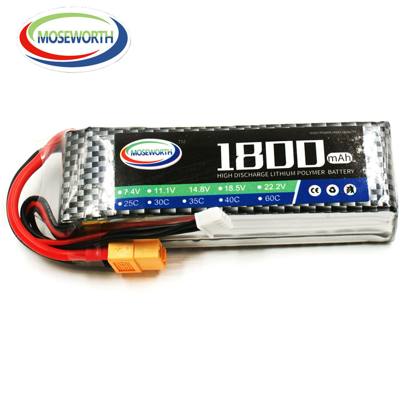 MOSEWORTH RC Lipo Battery 11.1v 3S 1800mAh 25C For RC Aircraft Quadcopter Helicopter Car Drones Airplane Li-polymer Batteria 3S 1s 2s 3s 4s 5s 6s 7s 8s lipo battery balance connector for rc model battery esc