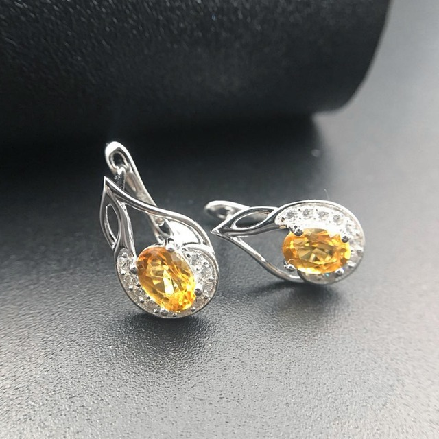 Hutang Citrine Earrings Natural Gemstone Solid 925 Sterling Silver Fine Fashion Stone Jewelry For Women's Birthday Best Gift New