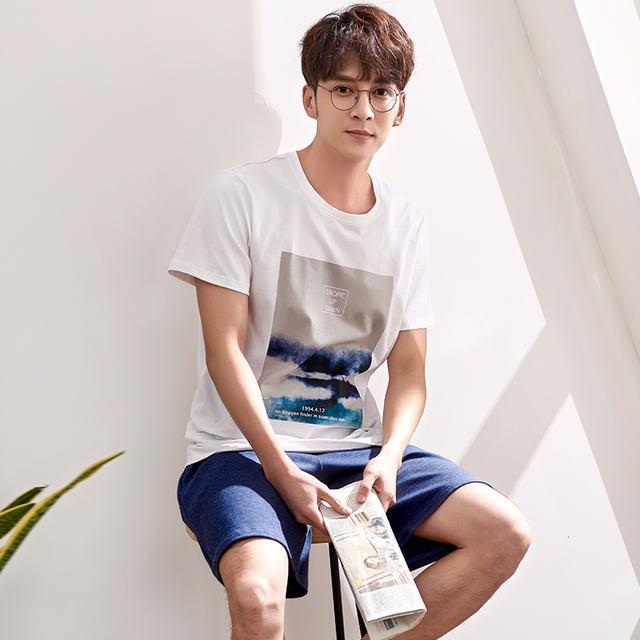 High Quality Summer Men Pyjamas Short Sleeve 100% Cotton Casual Tracksuit Pajamas Set Sleep Shorts Suit Male Plus Size Sleepwear