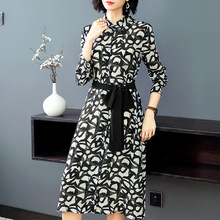 100% Silk print Single Breasted Long Sleeve Shirt Dress 2019 New Women Spring Summer Office Lady Work A-Line Dress silk print single breasted shirt dress 2018 new runway women summer dress high quality office lady a line dress