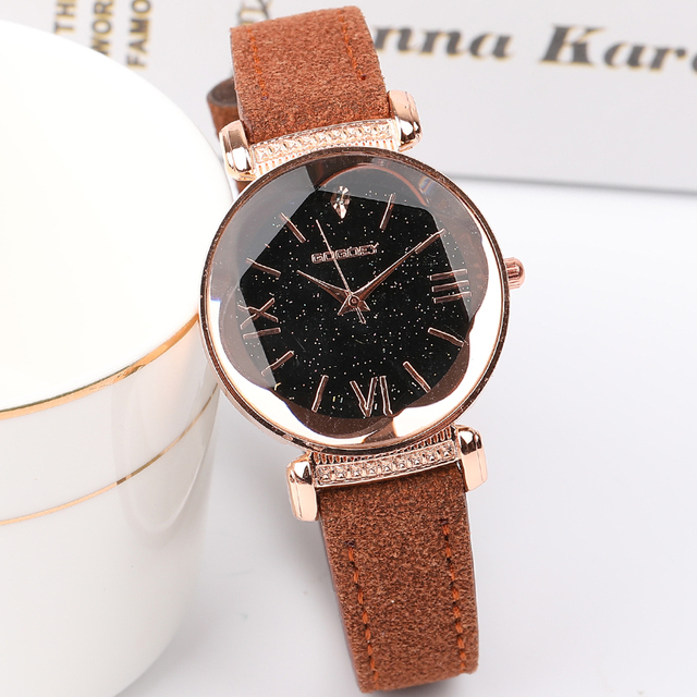 New Arrival Luxury Women Watches Fashion Dress Ladies Watch Rose gold Star dial Design Leather Strap Quartz Watch Clock Women 3