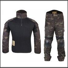 Combat uniform Shirt & Pants with knee elbow pads Tactical Gear Military Camouflage MCBK Multicam Black EM6971