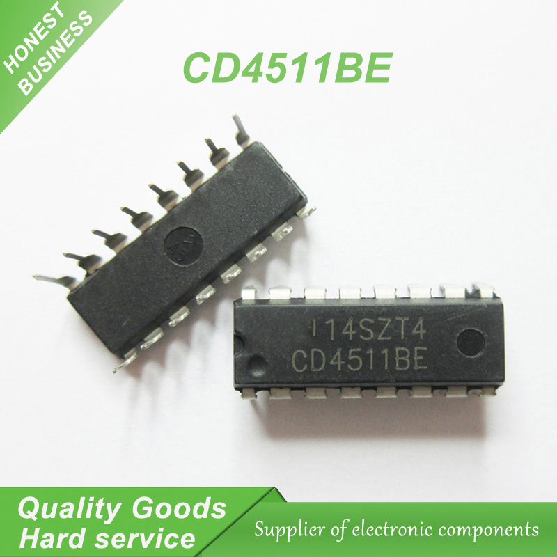 10Pcs CD4511 CD4511BE 4511 Cmos Bcd To 7 Segment Latch Decoder New Ic io