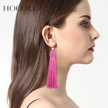 все цены на HOCOLE 2018 New Ethnic 7 Colors Long Tassel Earrings for Women Fashion Jewelry Geometric Alloy Simple Dangle Drop Earrings Gift онлайн