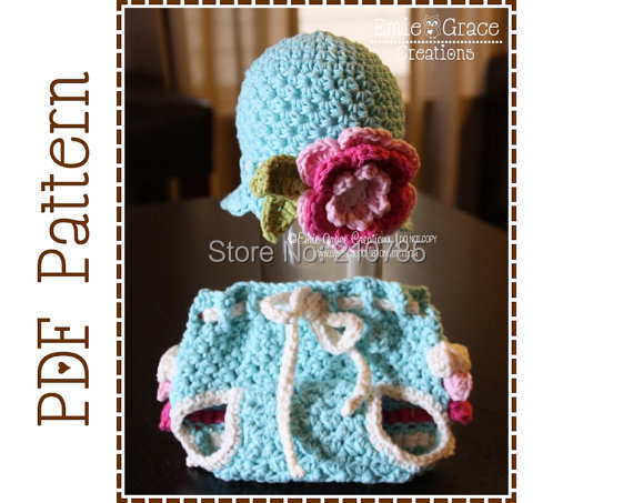 Free Shipping Crochet Flower Hat And Ruffle Diaper Cover Crochet