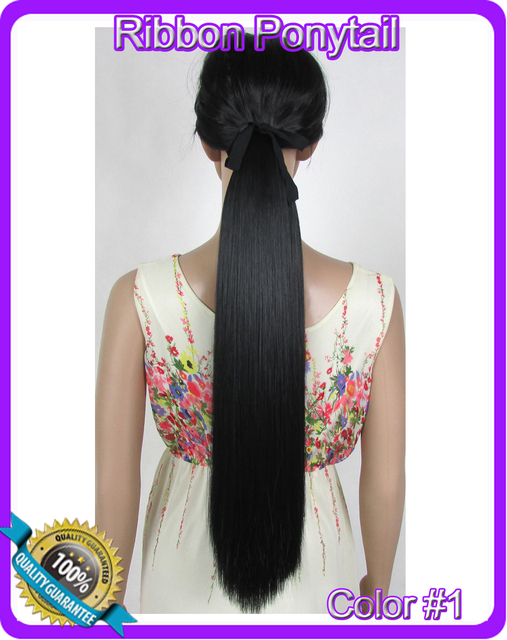 "22""(55cm) 90g straight ribbon ponytail hairpiece hair pieces clip in hair extensions color #1 Jet Black"